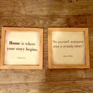 Set of 2 framed quotes
